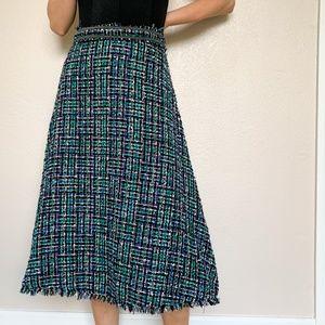 Zara Tweed Midi Green Pinafore Skirt Medium